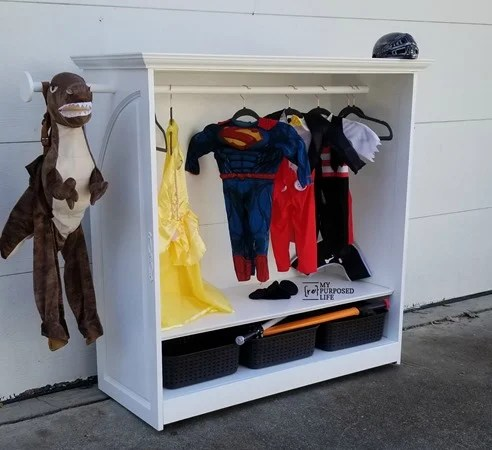 white kids diy dress up armoire MyRepurposedLife