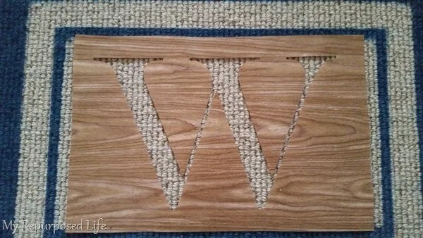 how to spray paint a monogram on a welcome mat