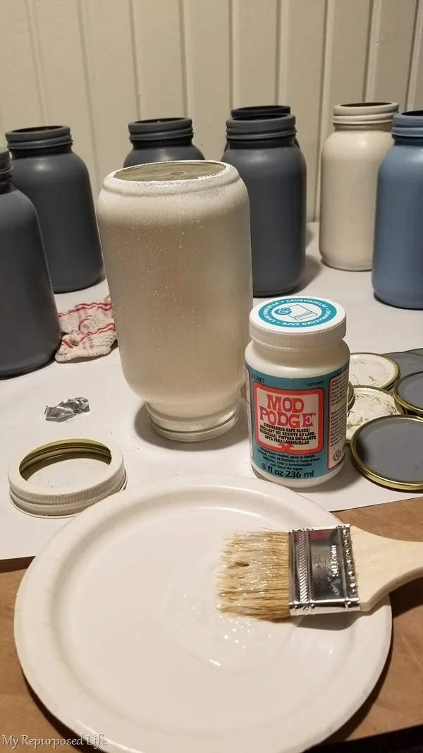 mod podge painted mason jar
