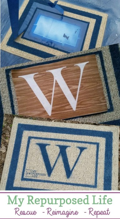 step by step how to spray paint a monogrammed welcome mat MyRepurposedLife