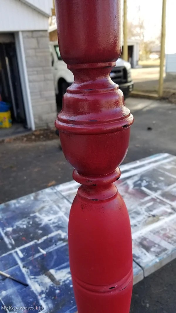 glazed red welcome porch post