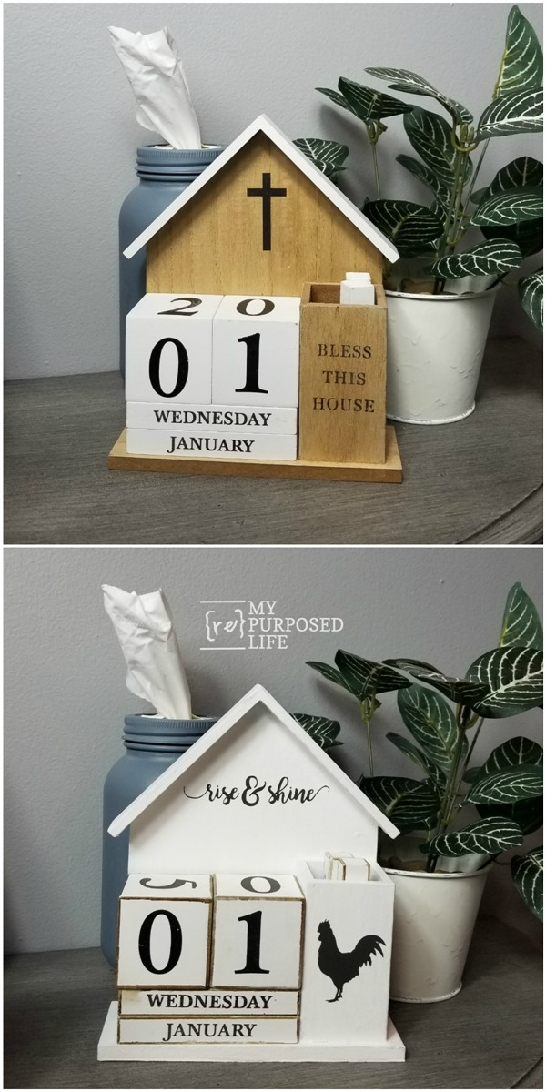 perpetual calendar before and after farmhouse makeover MyRepurposedLife
