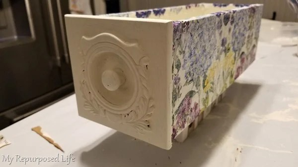allow decoupage sewing drawer to dry