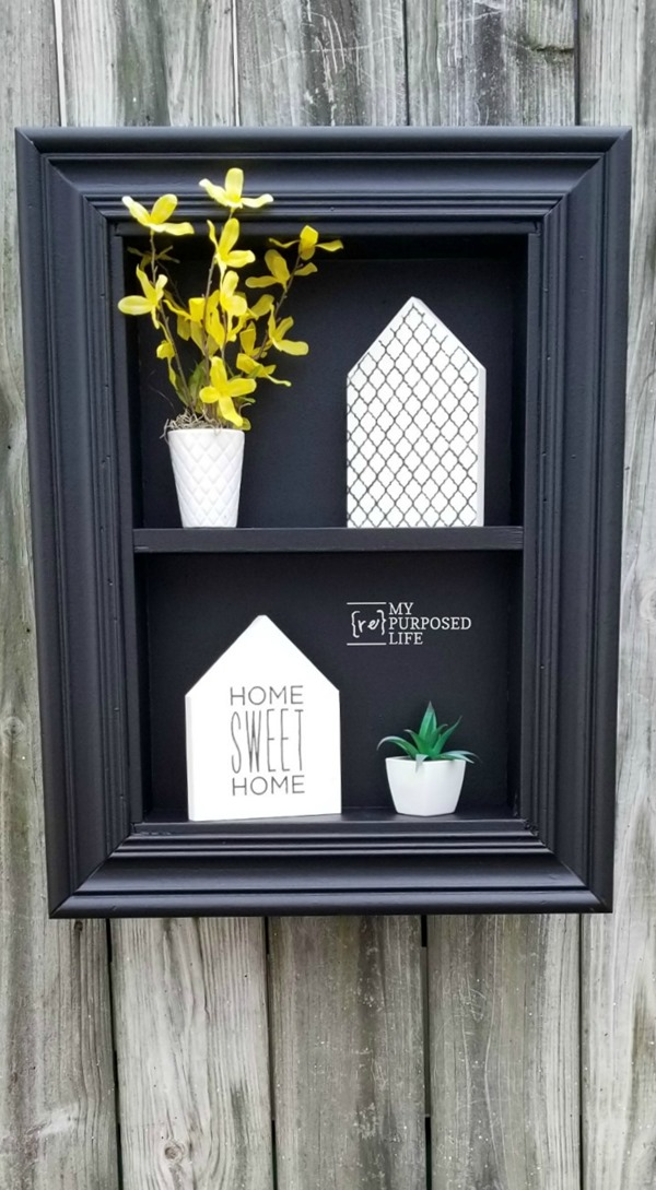 black drawer shadow box with white decor myRepurposedLife