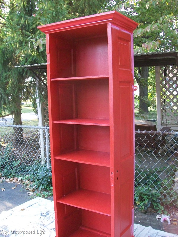 painting a repurposed door bookshelf