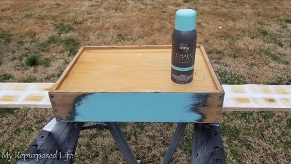 spray paint repurposed drawer jewelry organizer
