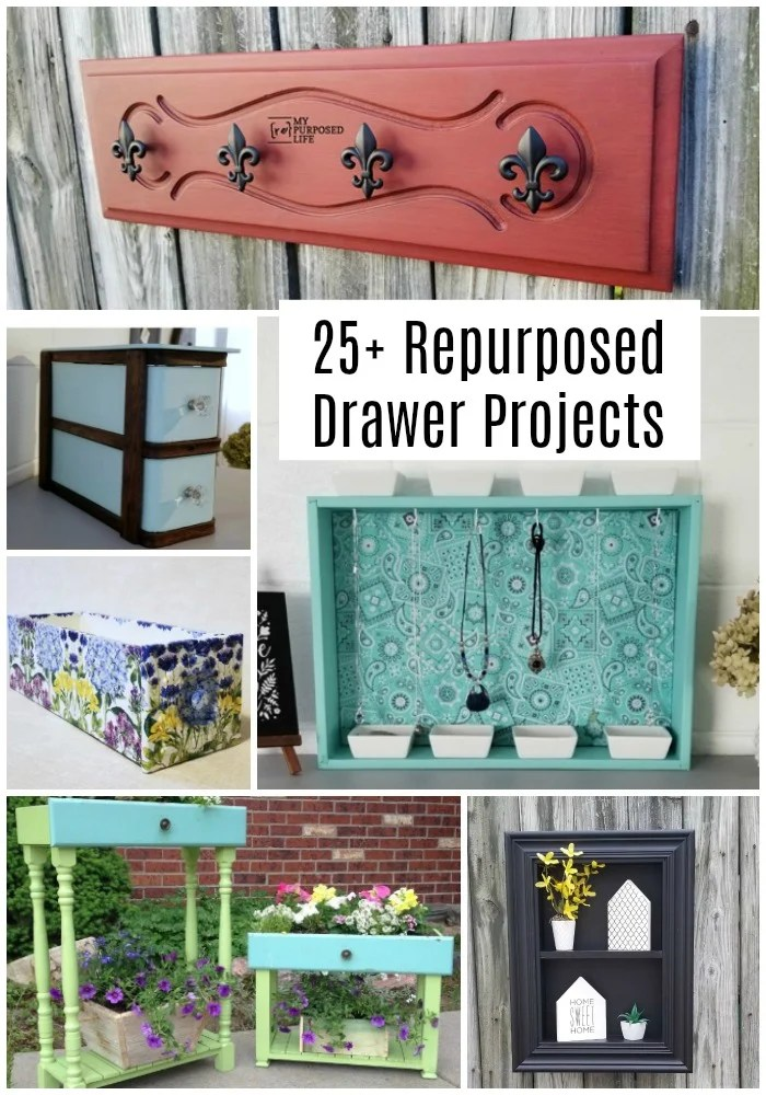 More than 25 repurposed drawer ideas and projects to inspire you to use those old, orphan drawers you have laying around. So many unique ideas in one place. Ideas for shelves, cubbies, pets and more. #MyRepurposedLife #repurposed #drawer #furniture #ideas via @repurposedlife