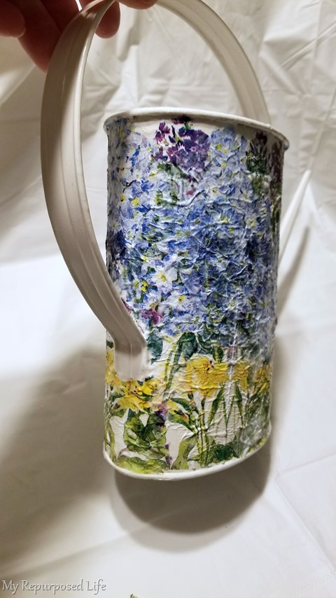 painted decoupage watering can
