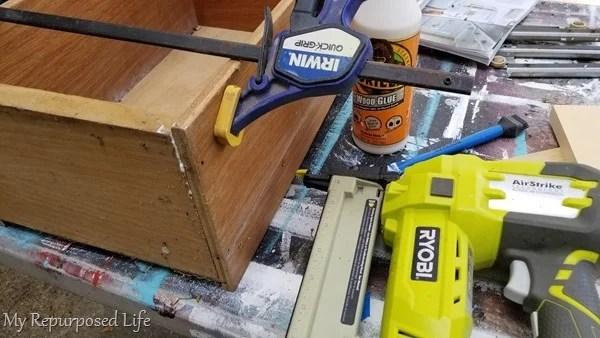 repair drawer with wood glue