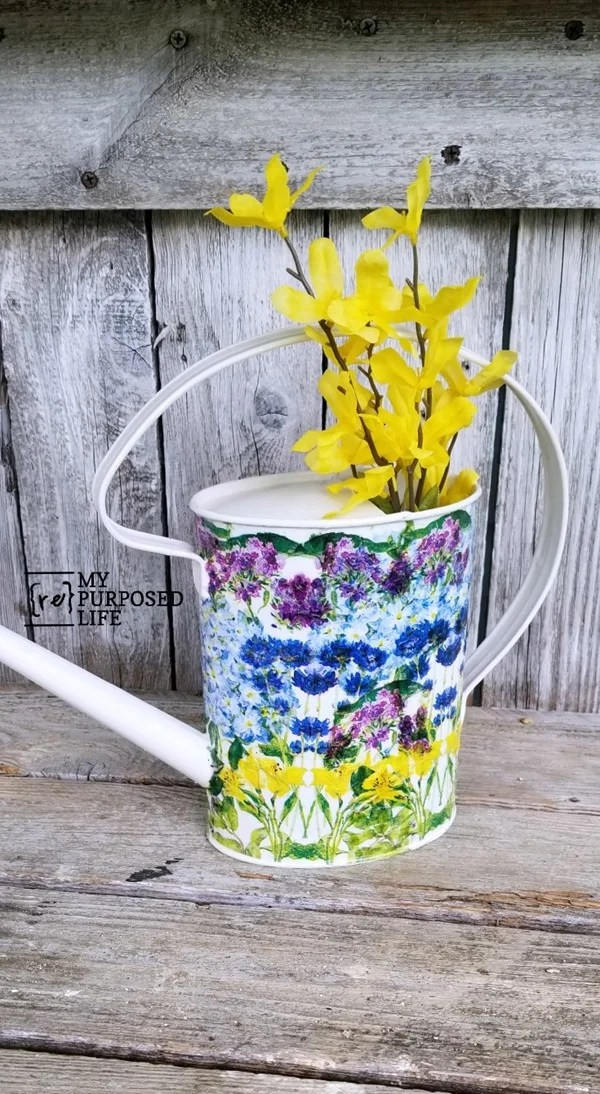 simple decoupage watering can project MyRepurposedLife