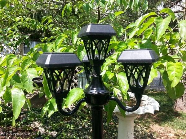 solar light made from old floor lamp
