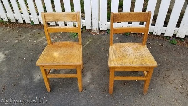 two school chairs for child bench
