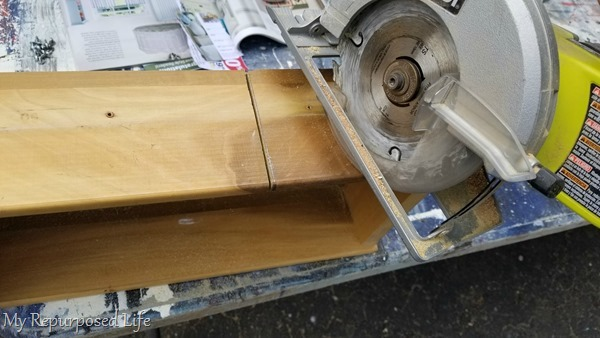 use circular saw to cut drawer down to size
