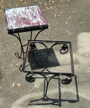 broken metal side tables