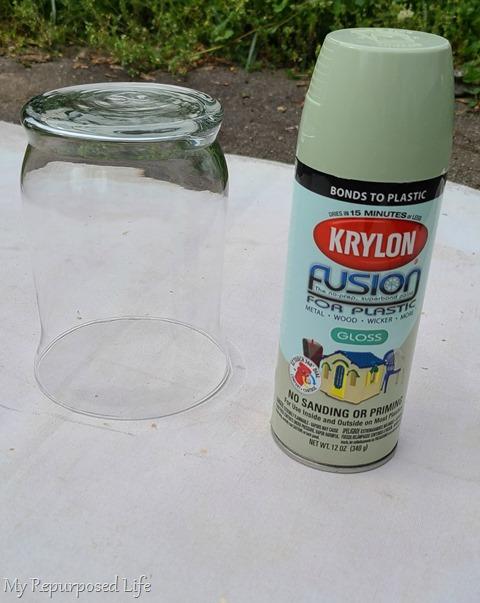 spray painted glass vase