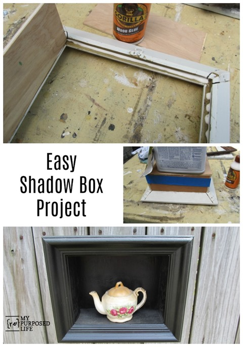 This easy shadow box project is made by assembling the piece with wood glue. No nails needed! You can even by the small plywood (hobby) boards at a craft store. Step by step directions so you can turn a picture frame into an easy shadow box project! #MyRepurposedLife #repurposed #pictureframe #shadowbox via @repurposedlife