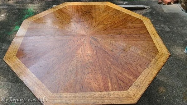 octagon table makeover after furniture stripper