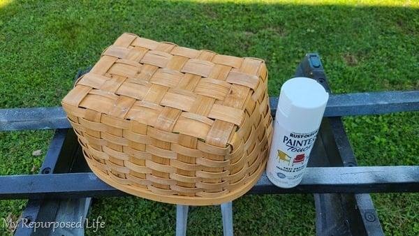 thrift store basket spray paint