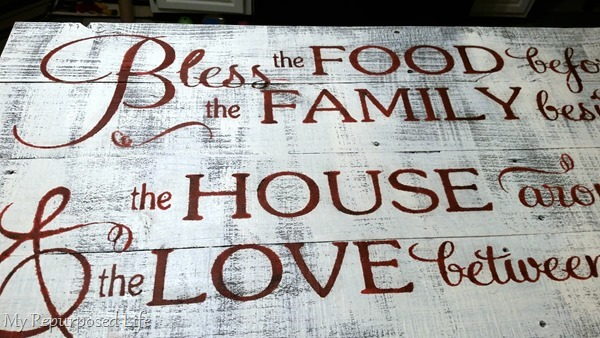 very large rustic fence stenciled sign