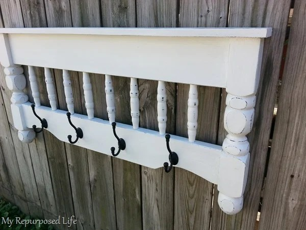 diy bed coat rack with black hooks MyRepurposedLife