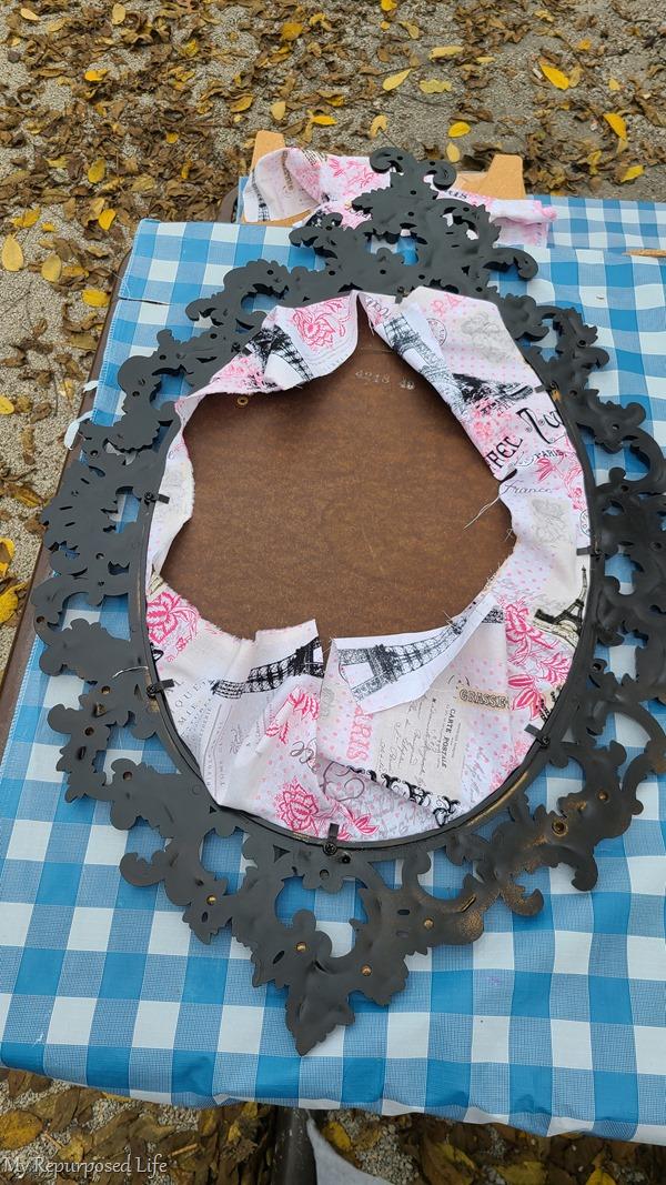 back of baroque mirror frame memo board