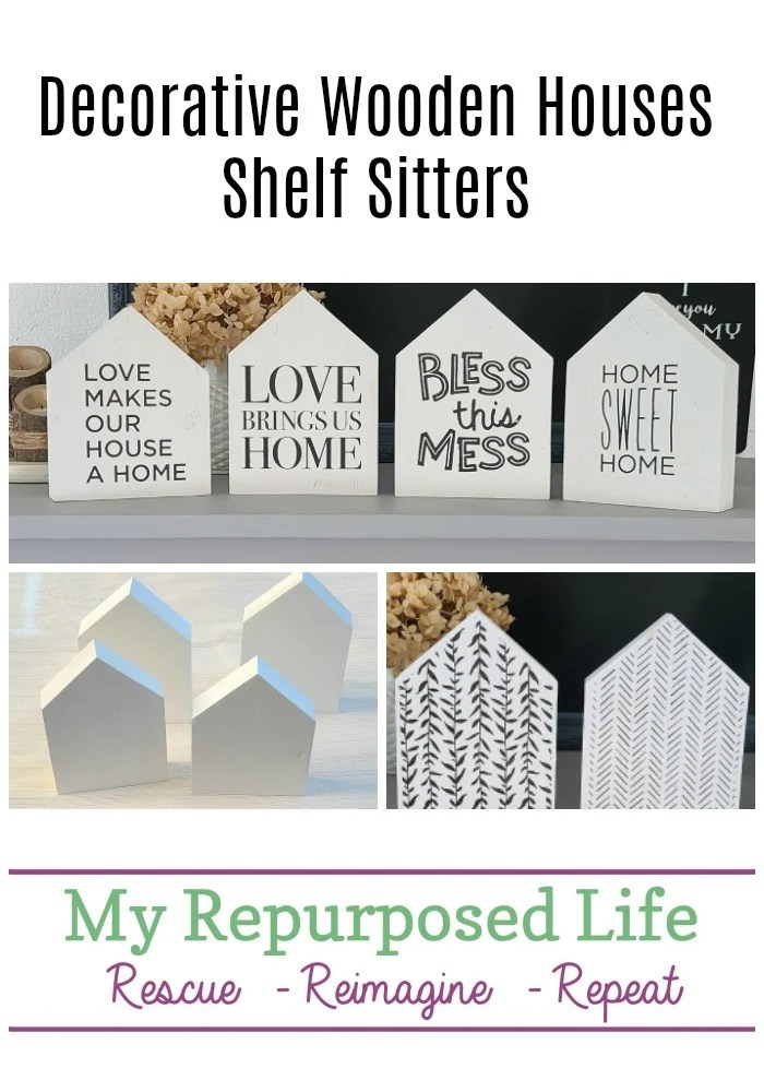 How to make decorative wooden houses out of scrap wood pieces. Tips for painting, stenciling styling and more. Easy project to do in an afternoon. Great idea for neighbor or teacher gifts! #MyRepurposedLife #scrapwood #easy #diy #project #homedecor via @repurposedlife
