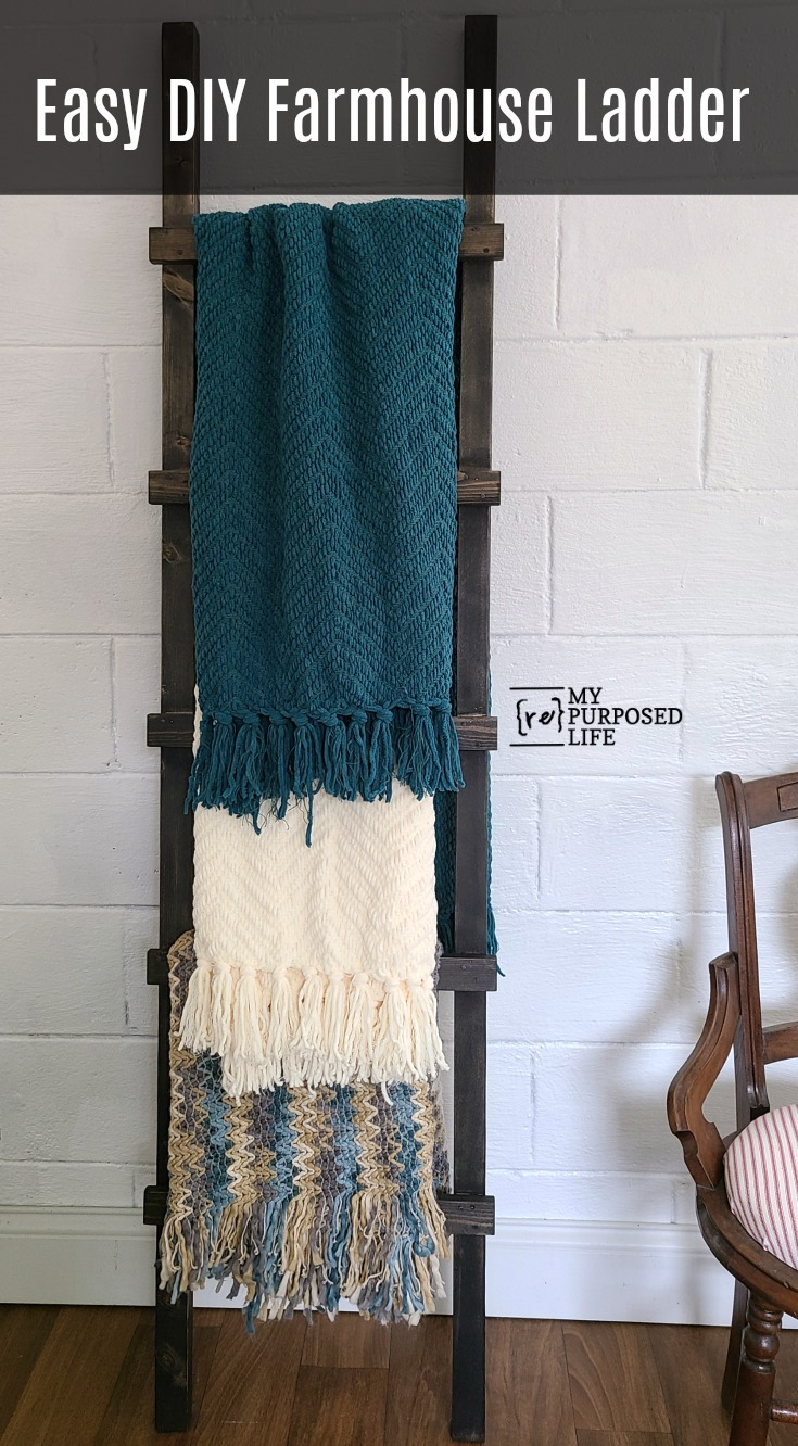 I'm sharing the easiest ever farmhouse ladder tutorial. You can easily replicate this blanket ladder project on your own in a couple of hours. #MyRepurposedLife #farmhouse #blanket #ladder #homedecor via @repurposedlife