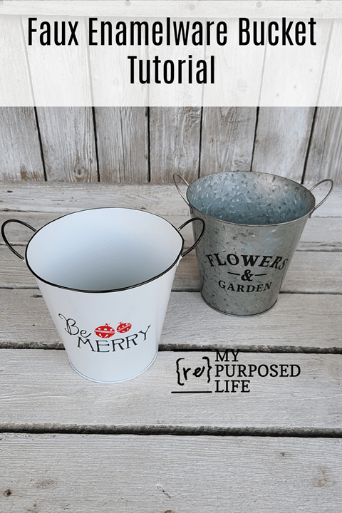How to Faux Enamelware Bucket Before - After MyRepurposedLife