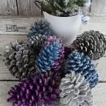 Colorful Glittered Pine Cones