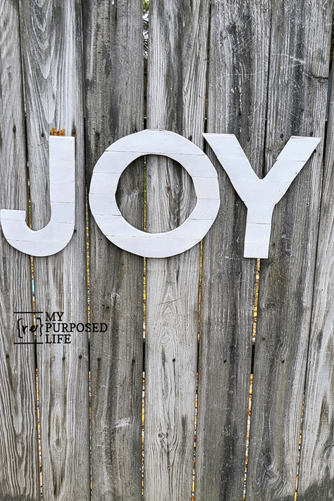 wooden JOY letters for Christmas