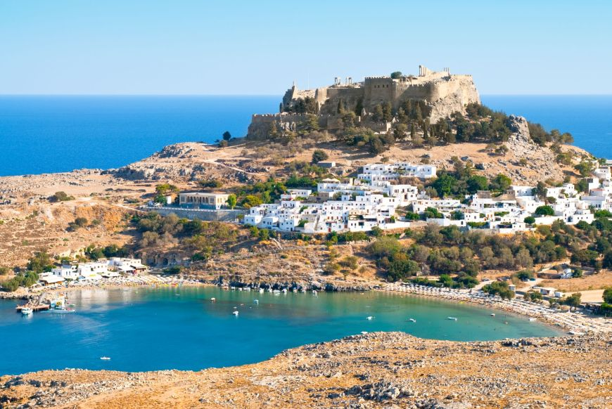 Ancient Lindos , white village and sea, part of myRhodes private tours