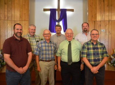 Pastor and Deacons (from left: James Smiley, Jerry Austin, Marvin Rohrbach, Pastor Nick Drake, Rick Smith, Carson Humphreys, Billy Hovey)