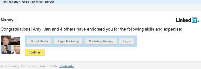 Email notification for LinkedIn skills endorsement