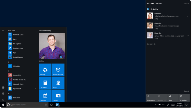 LinkedIn Microsoft Windows 10 Start Menu App Tile