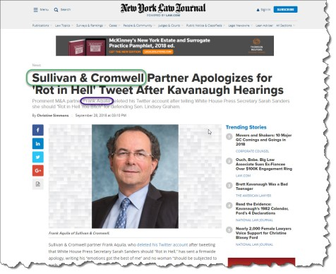 Sullivan & Cromwell Partner Frank Aquila Lashes Out At Sarah Sanders