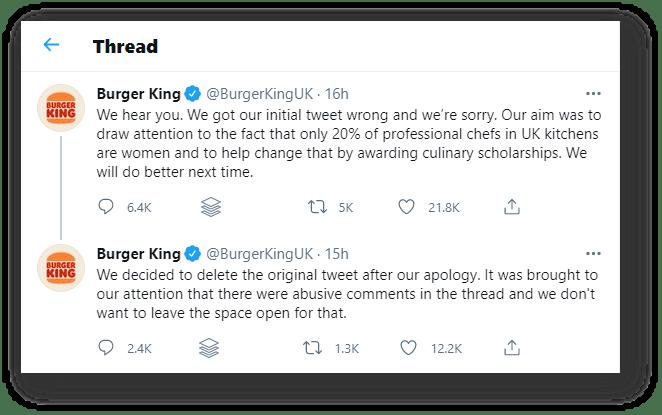 Burger King's Apology Twitter Thread