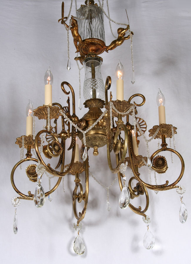 Antique Brass Crystal European Cherub Chandelier C 1930