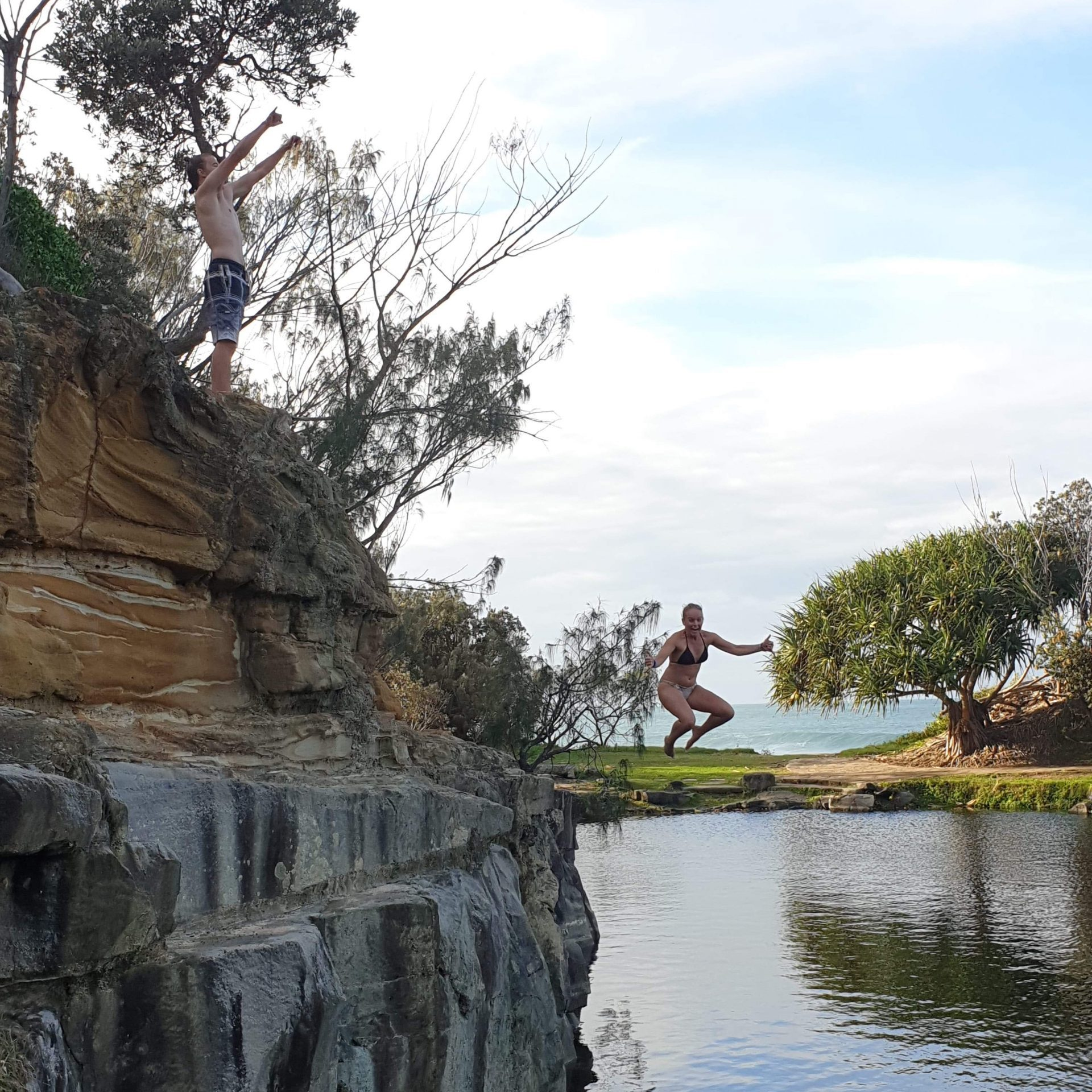 jumping from the rocks