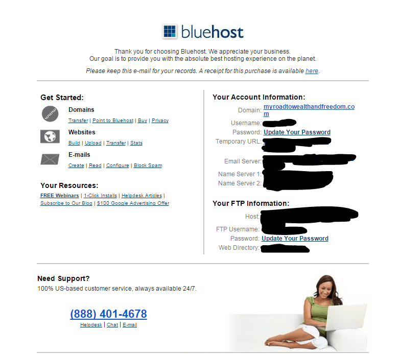 Bluehost confirmation email how to start a blog