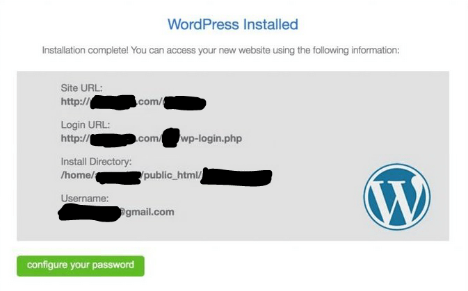 WordPress Installed Page