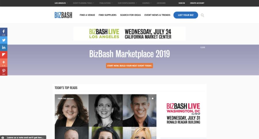 Screenshot of BizzBash Homepage