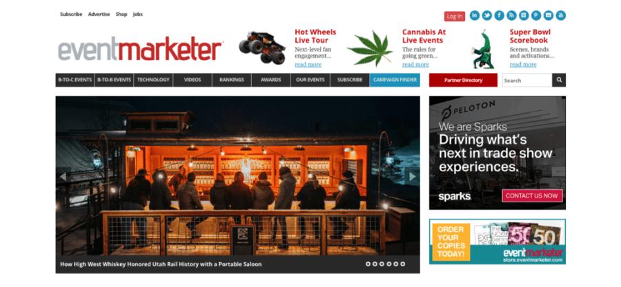 Screenshot of Event Marketer Homepage