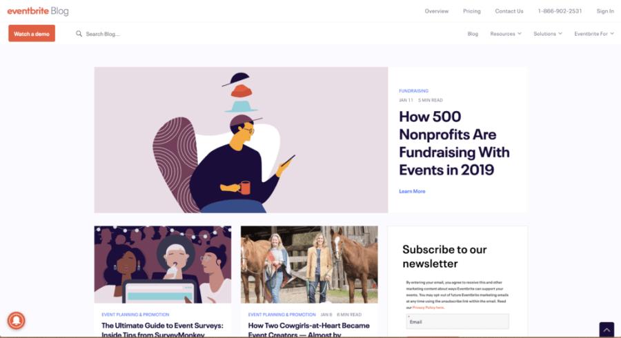 Screenshot of Eventbrite Blog Homepage