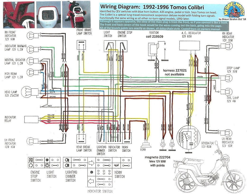 tomos moped wiring diagram with Tomos Wiring Diagram on Polaris 500 Sportsman Fuse Location as well Avanti Garelli 2 Stroke 12v 50w Mag o Wiring Diagram furthermore Honda 49cc Moped Engine Diagrams likewise New Tomos Electrical likewise Used 1979 Motobecane 50v 875 00.