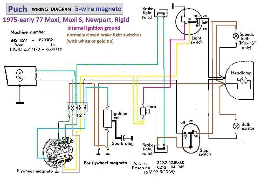 Puch Wiring Diagram 1976 77 5 wire magneto?resize\=665%2C452 moped solenoid diagram 1973 super beetle tail light wiring diagram 49Cc Scooter Wiring Diagram at eliteediting.co
