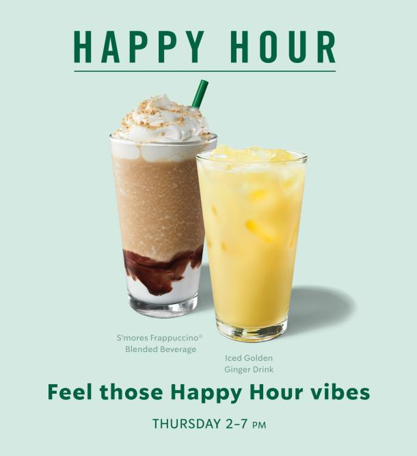Starbucks Happy Hour buy one get one FREE offer