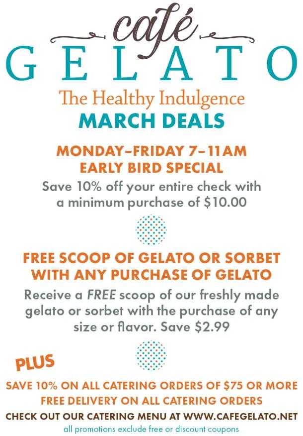 Cafe Gelato March 2021 Specials