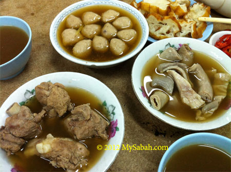 different dishes of Bah Kut Teh