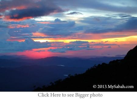 sunset on Mt. Kinabalu