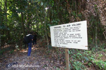 mud volcano trail of Pulau Tiga